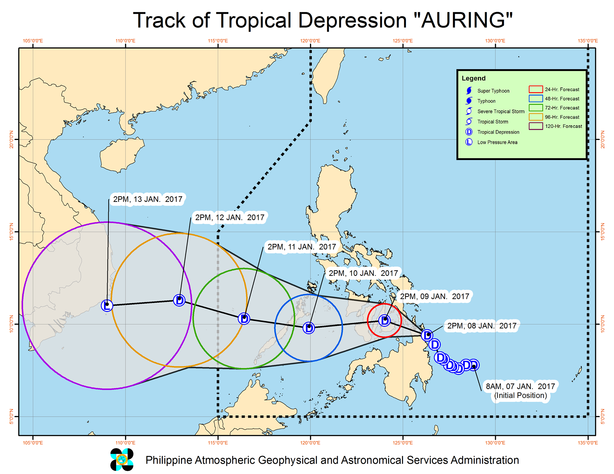 Forecast track of Tropical Depression Auring as of January 8, 5 pm. Image courtesy of PAGASA