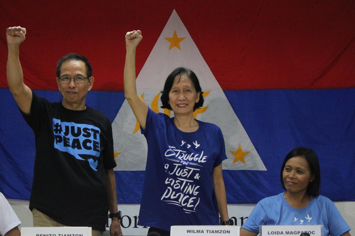 Newly released political prisoners Benito Tiamzon and wife Wilma Tiamzonalong with recently released political prisoner Ma. Loida Magpatoc (seated) during press conference at the Immaculate Conception Multi-purpose Hall in Cubao, Quezon City on August 19. Photo by Joel Liporada/Rappler
