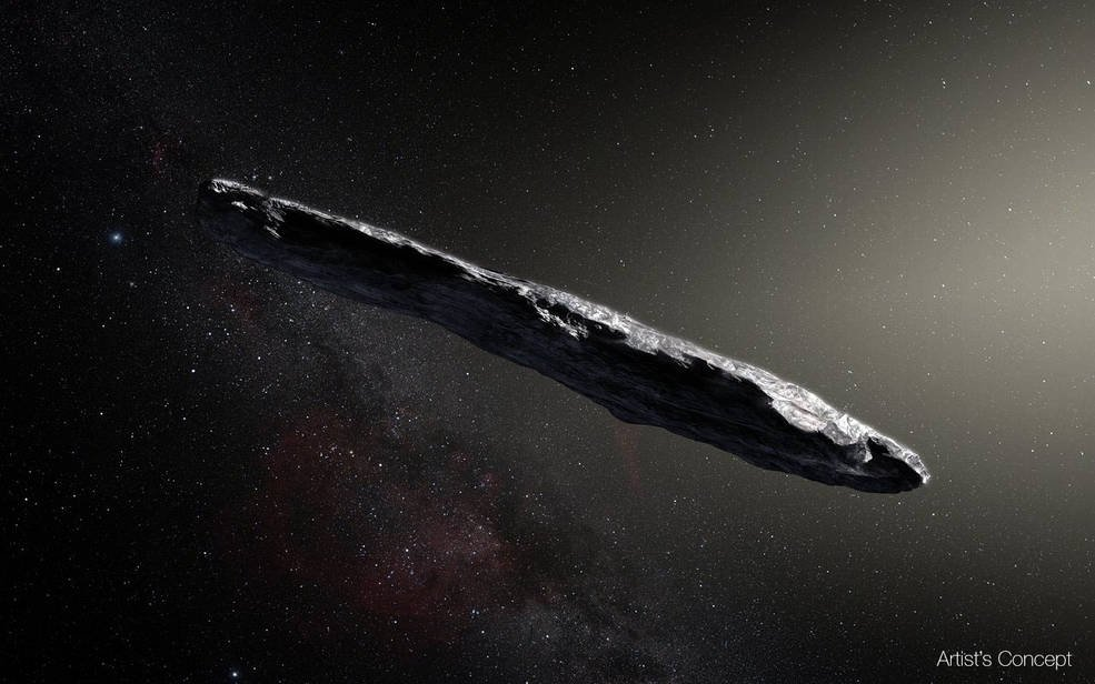 MYSTERIOUS VISITOR. The first confirmed object from interstellar space is a rocky, cigar-shaped object with a reddish hue. The asteroid 'Oumuamua is up to a quarter mile (400 meters) long, and 10 times as long as it is wide. Image courtesy NASA