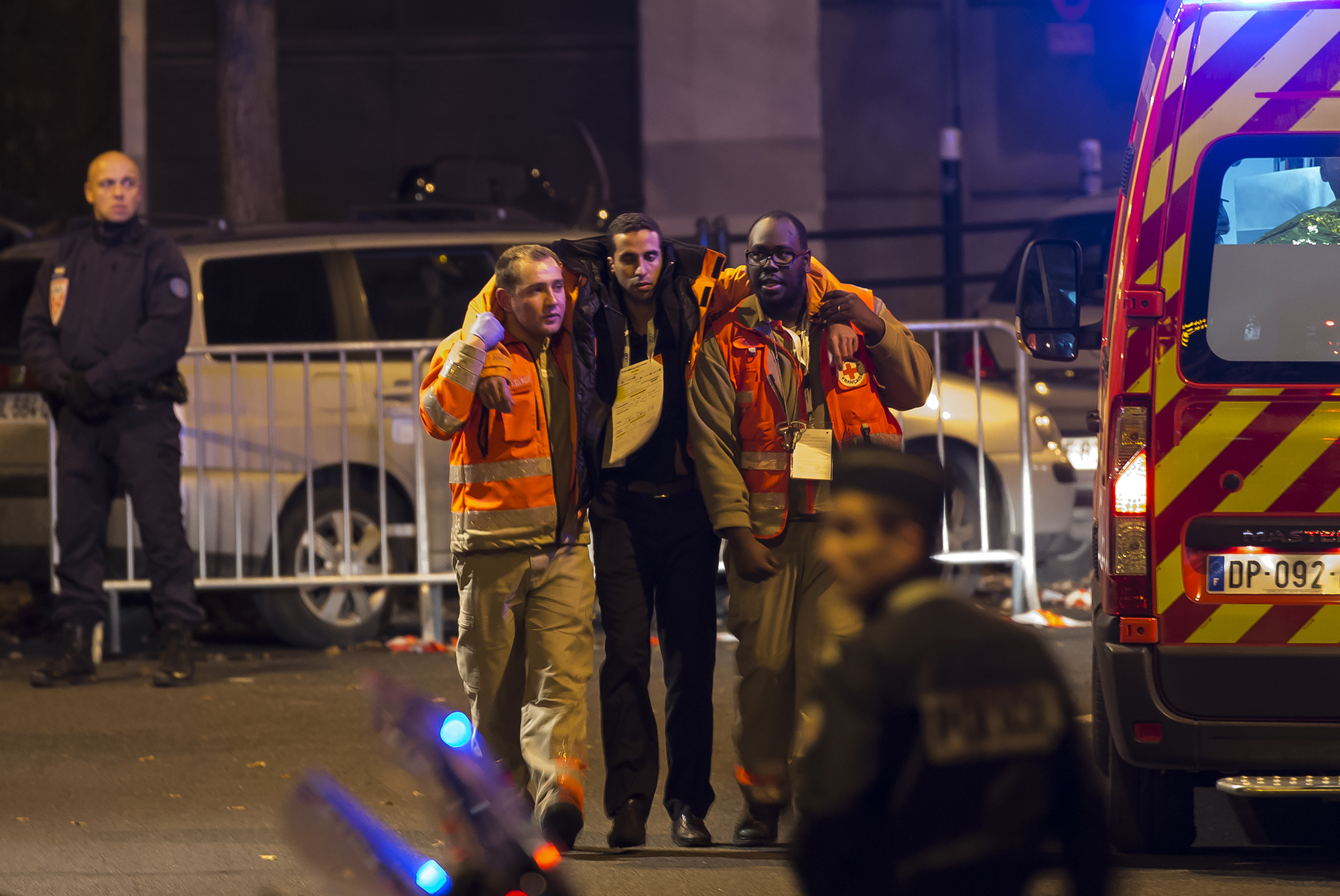 RESCUE. Wounded people are evacuated from the Stade de France in Paris, France, November 13, 2015, after explosions were reported. Photo by Ian Langsdon/EPA