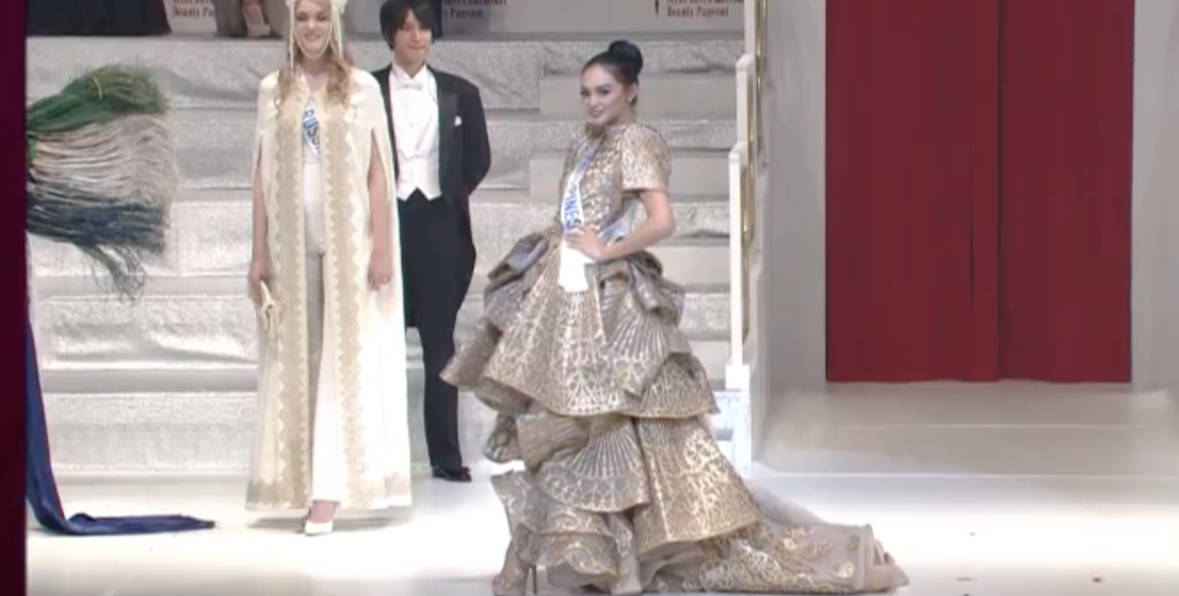MISS INTERNATIONAL 2016. Kylie Verzosa models her national costume by Francis Libiran. Screenshot from YouTube/Miss International