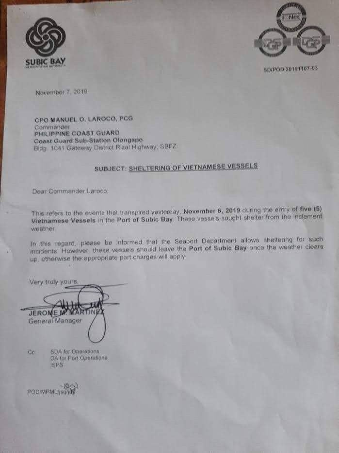 ORDERS. The letter of SBMA authorities to the Philippines Coast Guard. Photo by Olongapo City Public Information