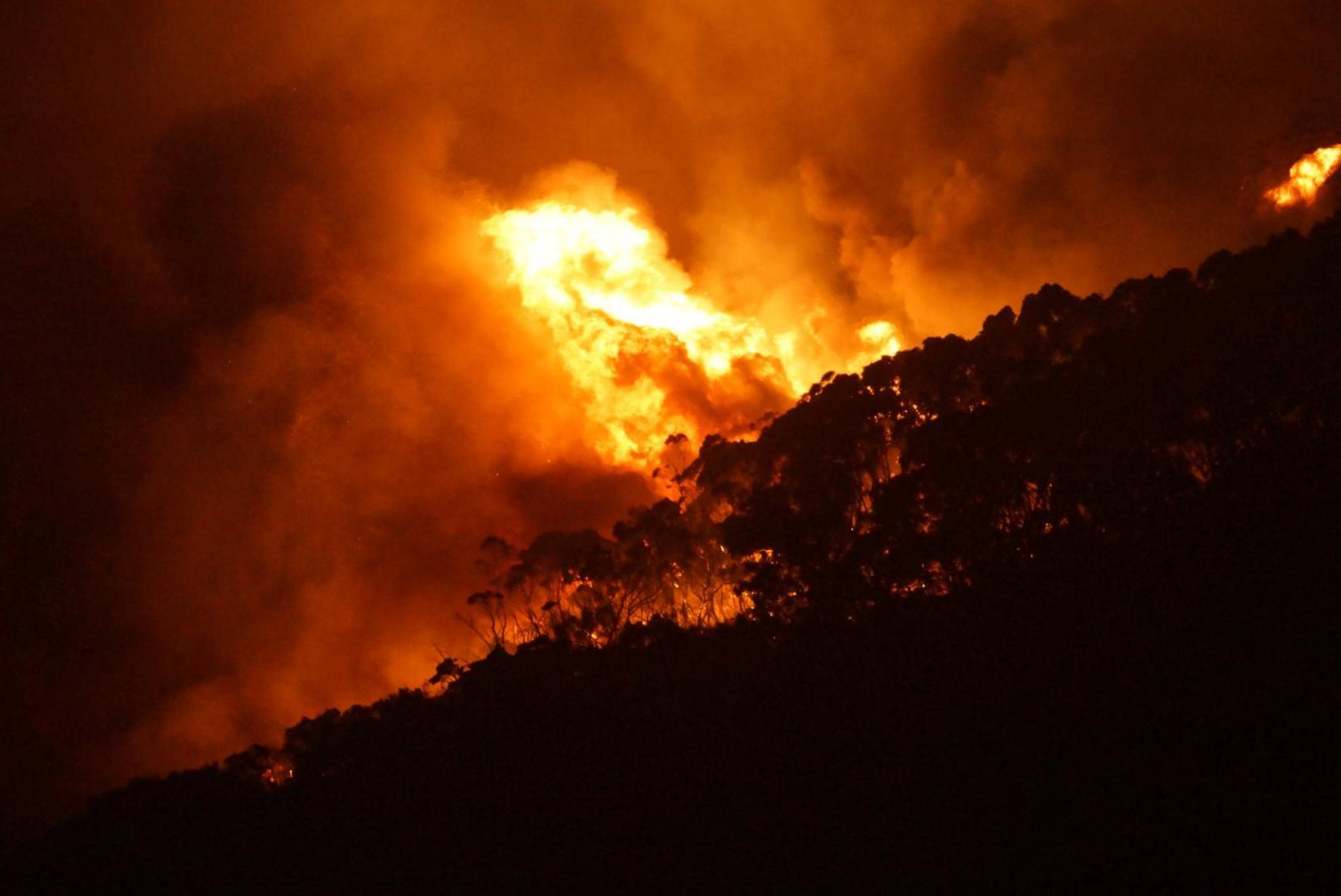 BUSHFIRE. A handout picture made available on 26 December 2015 shows a bushfire at Wye River near Lorne, south of Melbourne, Australia, 25 December 2015. Keith Pakenham / EPA