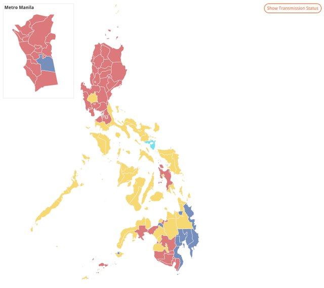 MANILA. Based on unofficial results as of evening of May 11, majority of NCR is colored red u2013 signifying the lead of vice presidential candidate Ferdinand u0022Bongbongu0022 Marcos. Screenshot from Rappler's results page