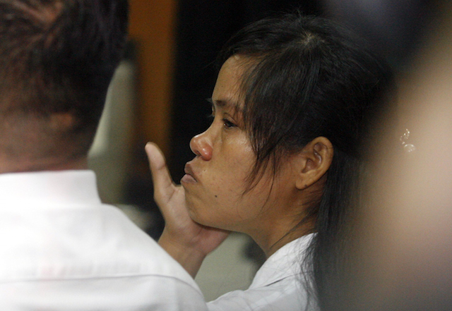 FINAL APPEAL. Mary Jane in court in Yogyakarta during the hearing for her judicial review request in March 2015. File photo by Bimo Satrio/EPA