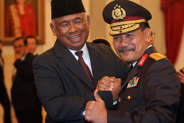 WORKING TOGETHER. New acting KPK chairman Taufiequrrahman Ruki (left) with new police chief nominee Comr. Gen. Badrodin Haiti at the State Palace on Feb. 20, 2015. Photo by Gatta Dewabrata/Rappler