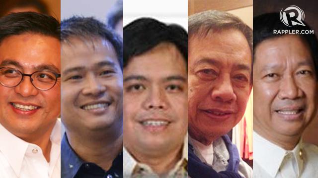 CONGRESS WINNERS. From left to right: Rozzano Rufino Biazon, Joel Villanueva, Marc Douglas Cagas IV, Arrel Olau00f1o, and Arthur Pingoy Jr. Photos from Rappler and House of Representatives