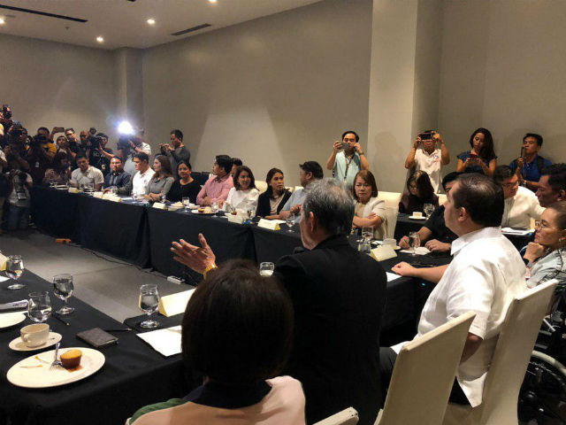 SPEAKERSHIP BET LEADING. Romualdez sits at the head of the table during the multi-party caucus he led at a hotel in Quezon City. Photo by Mara Cepeda/Rappler