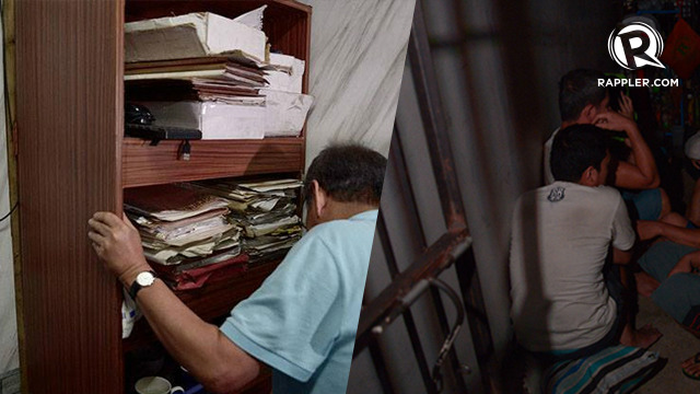 BOOKSHELF? Detainees are kept behind a bookshelf in Manila Police Station 1. Photos by Eloisa Lopez