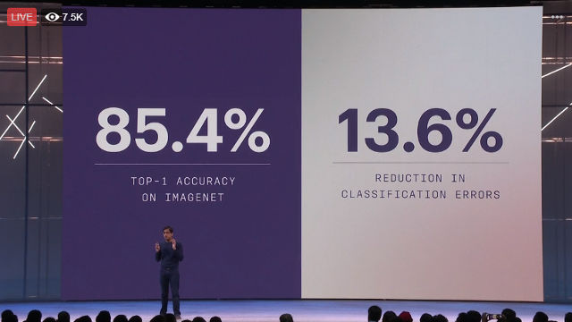 TOPPING IMAGENET. Srinivas Narayanan, Facebook's director of AI and machine learning, explains how Facebook's AI topped a image recognition and categorization test. Screenshot from Facebook livestream.