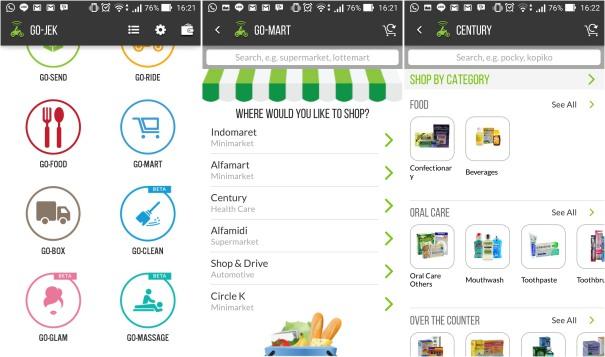 Screenshot layanan Go-Mart dari Go-Jek.
