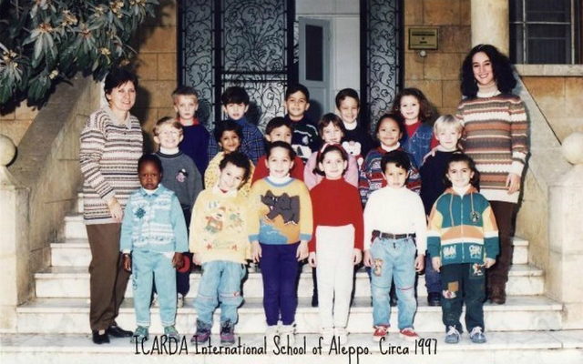 WELCOMED. The author (2nd row, 2nd to the right) with her Kindergarten 2 class in Aleppo, Syria. Photo courtesy of Migel Estoque.