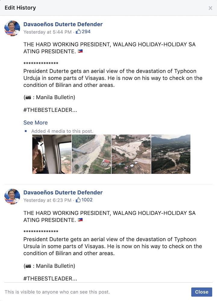 Screenshot of edit history of Davaoeu00f1os Duterte Defender's Facebook post on December 26, 2019