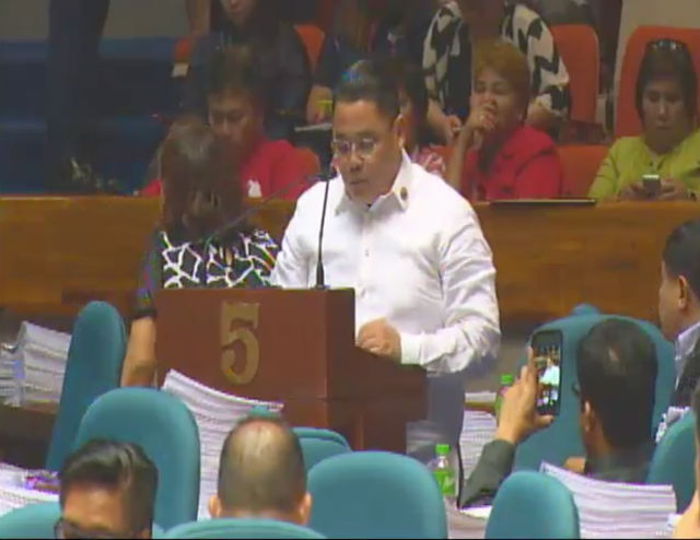 VOTED NO. Anakpawis Representative Ariel Casilao explains his vote against the death penalty. Screengrab from congress.gov.ph