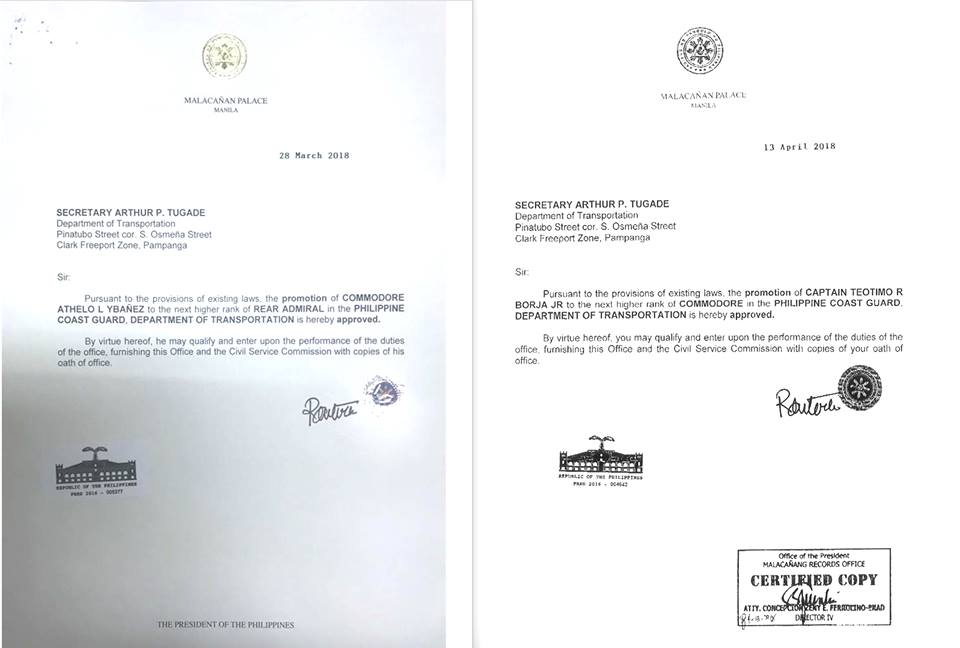 PROMOTED. President Rodrigo Duterte promotes Philippine Coast Guard (PCG) officers Rear Admiral Athelo Ybau00c3u00b1ez and Commodore Teotimo Borja Jr. Sourced photo