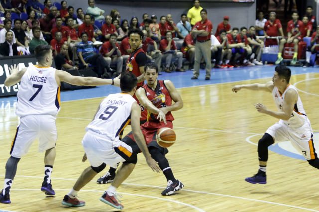 Lassiter (in red) was clutch when his team needed him to deliver. Photo from PBA Images