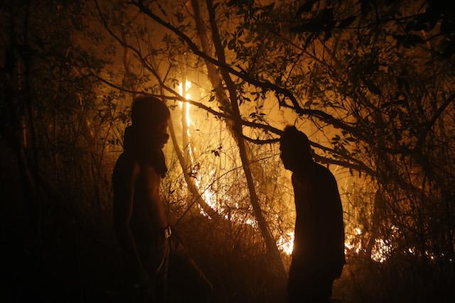 KEBAKARAN HUTAN. Warga berusaha memadamkan api di lahan gambut di Tanjung Batu, Ogan Ilir, Sumatera Selatan, 18 September 2015. Foto oleh Adi Weda/EPA