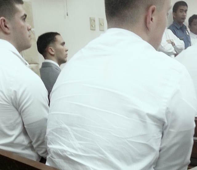 FIRST PUBLIC APPEARANCE. US Marine Lance Corporal Joseph Scott Pemberton appears in an Olongapo court over the alleged murder of transgender Filipino Jennifer Laude on December 19, 2014. File photo courtesy of Marilou Laude