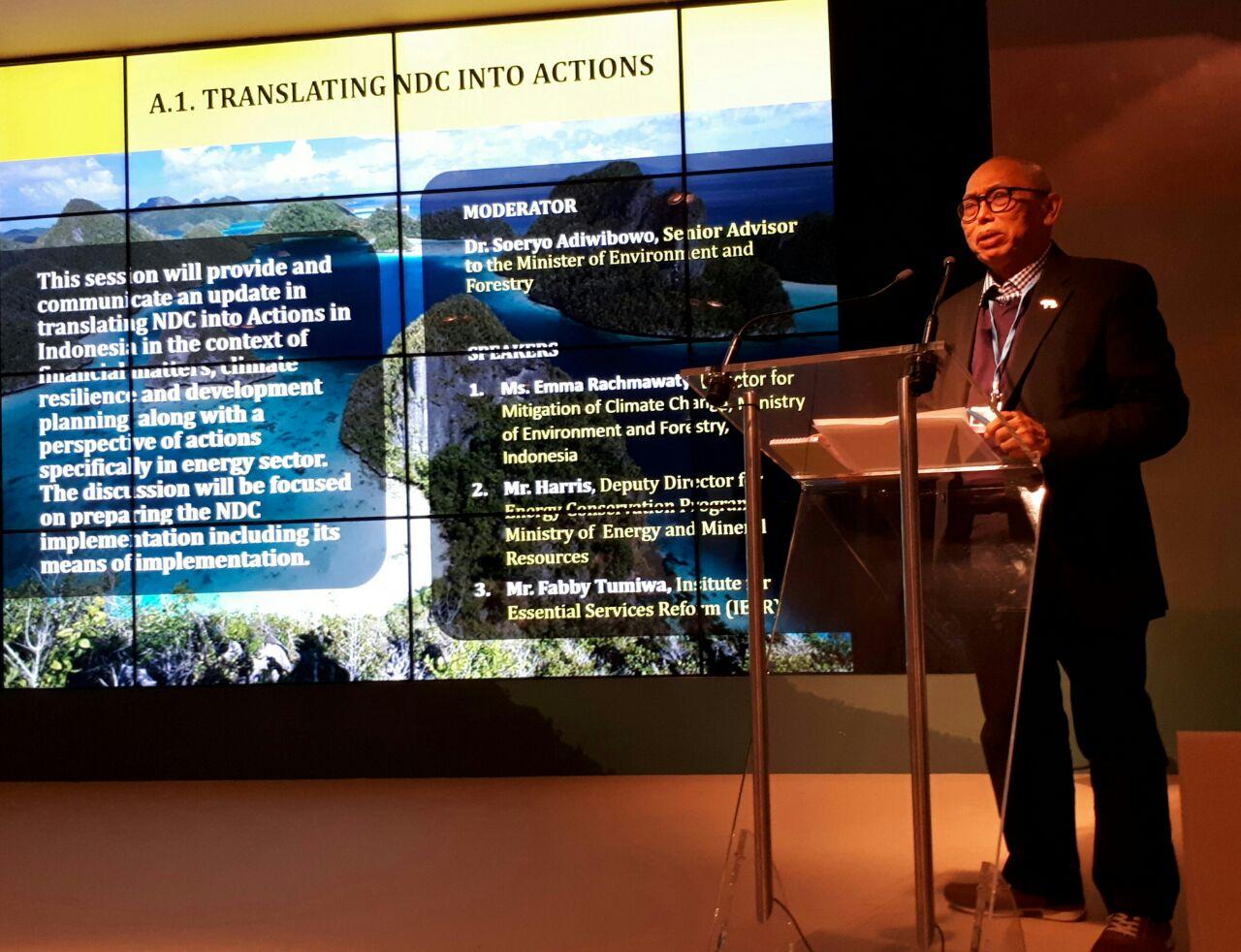 Sesi Pembahasan Proposal Penurunan Emisi Karbon (NDC) di Paviliun Indonesia di COP 23, Bonn (16/11/2017). Foto oleh Sekretariat Delri