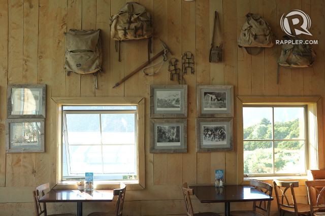 LEGACY. Antique alpine trekking gear and photos are displayed in the Old Mountaineers' Cafe and Restaurant
