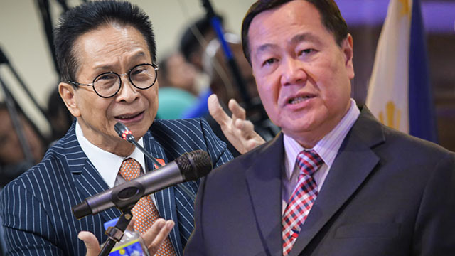 DUTERTE'S OPTIONS. Presidential Spokesperson Salvador Panelo (left) and Senior Associate Justice Antonio Carpio give clashing views on the government's options to assert the Hague ruling against China. Carpio photo from Senate PRIB
