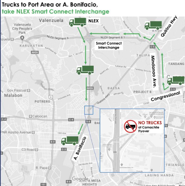 Trucks to Port Area or A. Bonifacio Avenue. Photo from NLEX Corporation