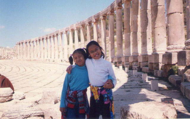 MEMORIES. The author (R) with her sister in one of their family's road trips in Syria. Photo courtesy of Migel Estoque.