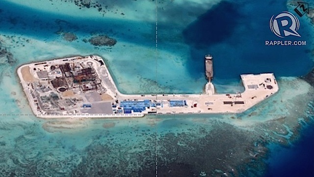 ARTIFICIAL ISLANDS. A photo obtained by Rappler shows the status of reclamation activities in Keenan (Chigua) Reef in the West Philippine Sea (South China Sea) as of December 12, 2014.
