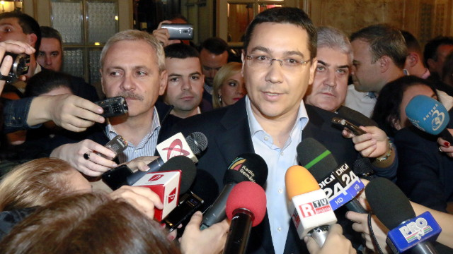 VICTOR PONTA. In this file photo, Romania's Presidential candidate and prime minister Victor Ponta makes a statement after the first exit-poll figures were officially announced, at his party headquarters in Bucharest, Romania, late 16 November 2014. Photo by EPA