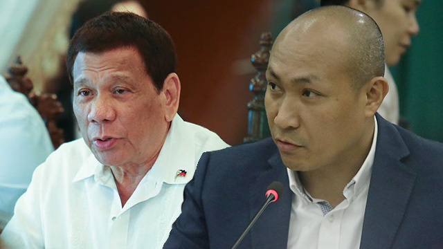 NEW NAME? President Rodrigo Duterte and Magdalo Representative Gary Alejano share views on the need to change the name of the Philippines. Duterte photo from Malacau00f1ang; Alejano photo by Darren Langit/Rappler