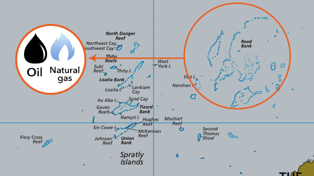 OWNED BY FILIPINOS. Recto Bank (Reed Bank) is said to contain huge reserves of oil and natural gas. Map from Hague ruling