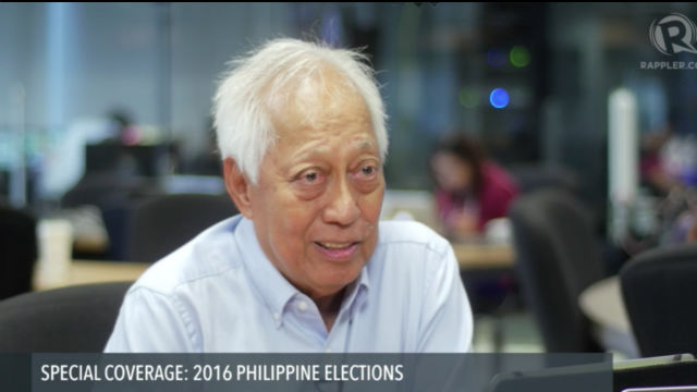 CLEAR THE AIR. Former Comelec chairman Christian Monsod says the poll body should leave no stone unturned in assuring voters there won't be manipulation in the May 9, 2016 elections.