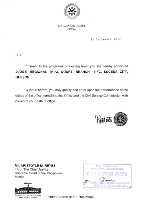 APPOINTED. President Duterte appoints Aristotle Reyes to Regional Trial Court Judge