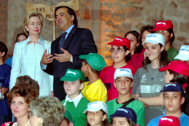 FIRST LADY. As first lady, Hillary Clinton actively took part in the Clinton administration, and went on many foreign trips. Here, she is photographed visiting the province of Palermo in Italy in 1999. Photo by Mile Palazzotto/EPA