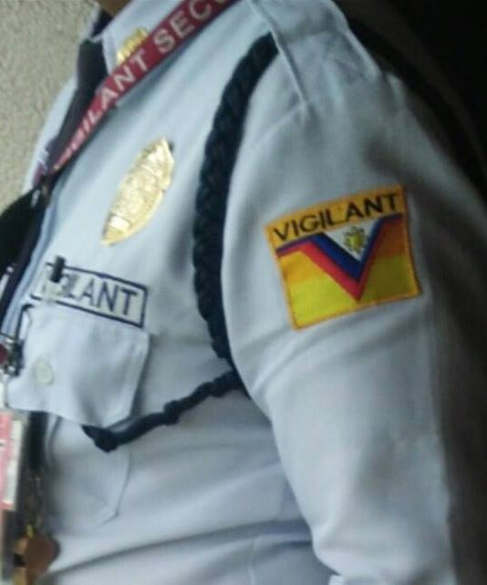 VIGILANT. A security guard at the House of Representatives wears a patch of the security firm Vigilant, owned by Solicitor General Jose Calida and his family. Sourced photo