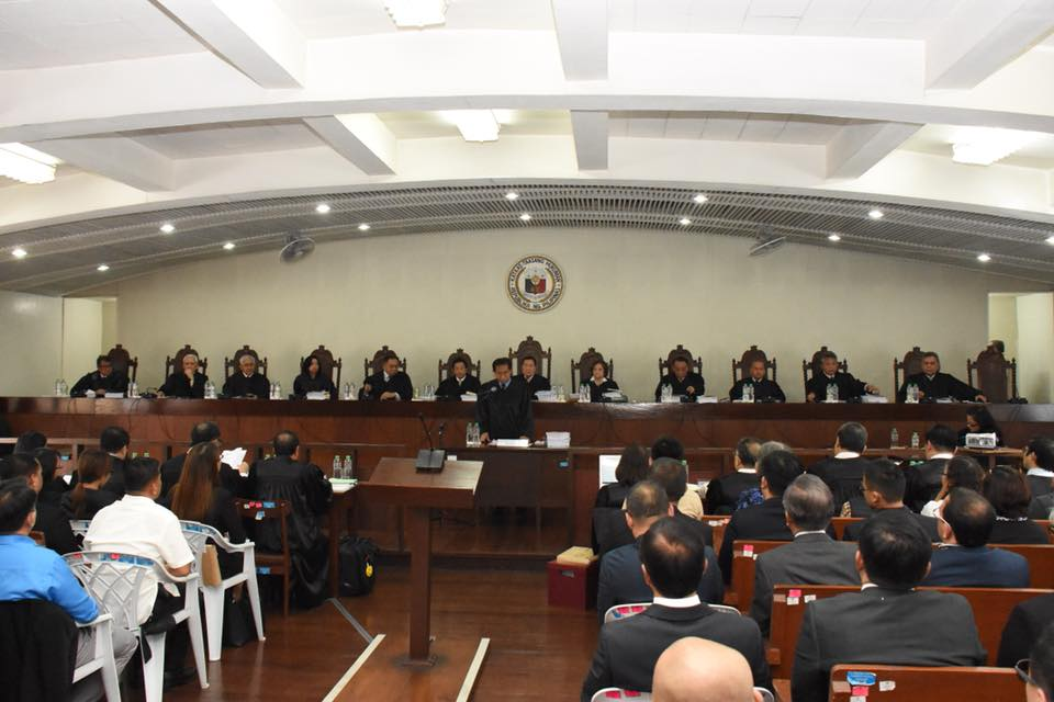 FIRST. Chief Justice Maria Lourdes Sereno defends herself before colleagues in public oral arguments, the first in the history of the Philippine judiciary. Photo courtesy of the SC PIO