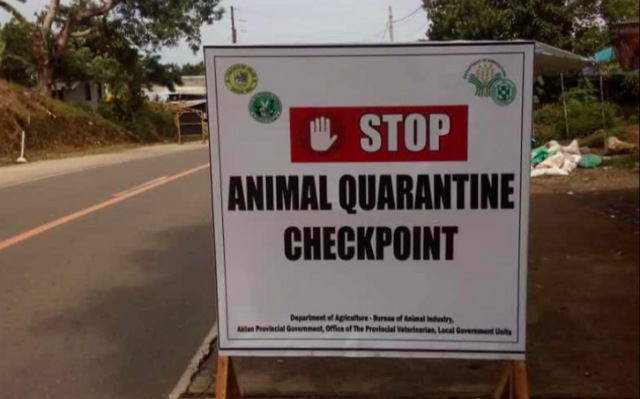 STOP. One of hte animal quarantine checkpoints in Aklan province. Photo from Office of the Provincial Veterinarian