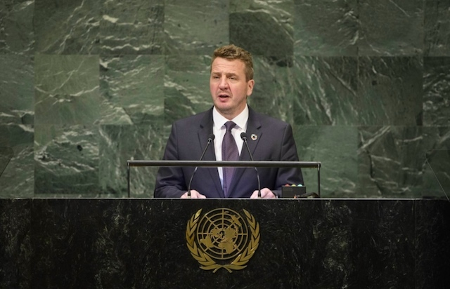ICELAND'S FOREIGN MINISTER. Iceland's Foreign Minister Gudlaugur Thu00f3r Thu00f3rdarson at the United Nations. Photo from the Government of Iceland website