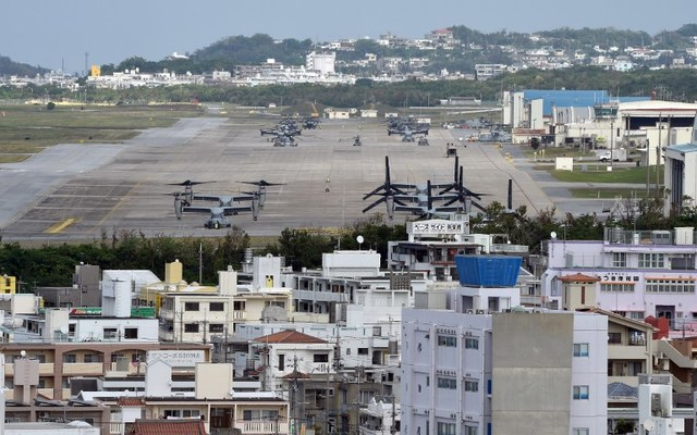BASE IN DANGER? This photo taken on November 14, 2014 shows multi-mission tiltrotor Osprey aircraft at the US Marine's Camp Futenma in a crowded urban area of Ginowan, Okinawa prefecture. Toru Yamanaka/AFP