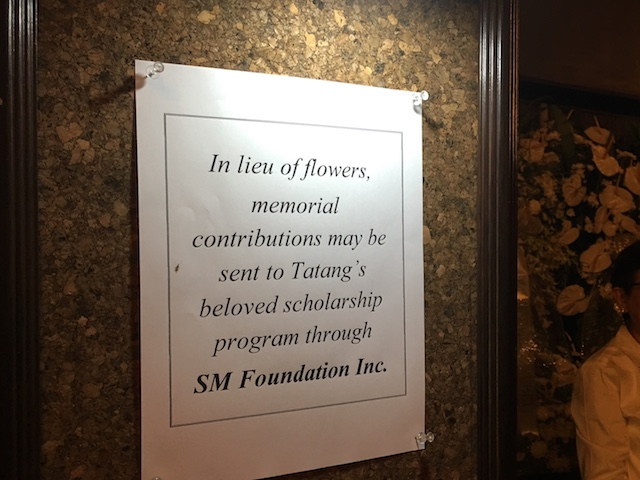 DONATIONS. Sy's family urges visitors to send memorial contributions to the SM Foundation. Photo by Ralf Rivas/Rappler