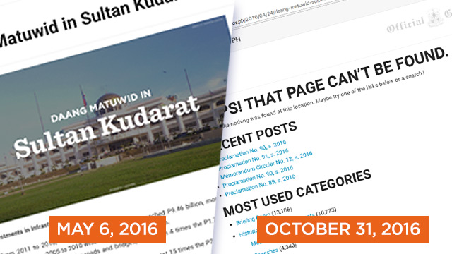 PAGE NOT FOUND. Details on what happened in Sultan Kudarat during the Aquino administration are gone from the Official Gazette.