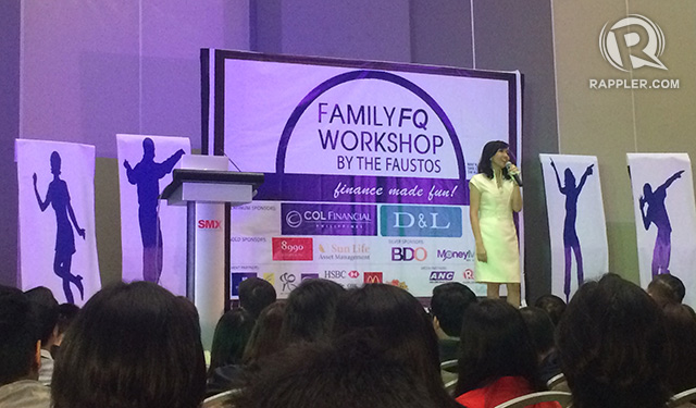 FAMILY FQ. Rose Fausto, also known as the FQ Mom, a financial literacy writer, and a book author, inspires participants at the Family FQ Workshop through anecdotes that reveal how she is successfully raising kids with high FQ. All photos by Shadz Loresco / Rappler
