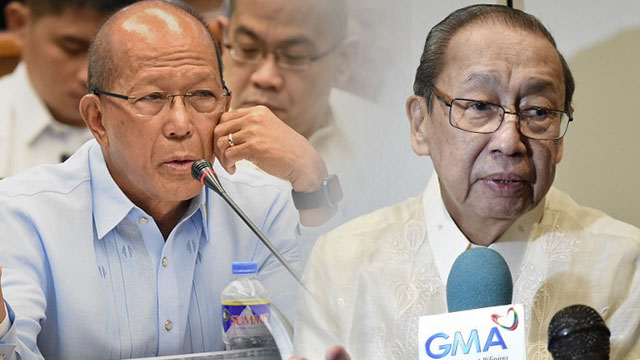 REAL AGENDA. Defense Secretary Delfin Lorenzana hits Communist Party of the Philippines founder Jose Maria Sison for backing out of the peace talks. Lorenzana photo by Rappler; Sison photo by AFP