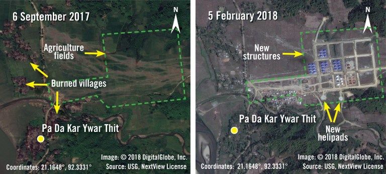 MYANMAR CHANGES. This handout combination image of two satellite photographs released by Amnesty International and DigitalGlobe on March 12, 2018 shows before and after images taken on September 6, 2017 and February 5, 2018 of new structures and helipads being built over agricultural fields in the village of Pa Da Kar Ywar Thit in Myanmar's Rakhine State. Handout images by Amnesty International/DigitalGlobe/AFP