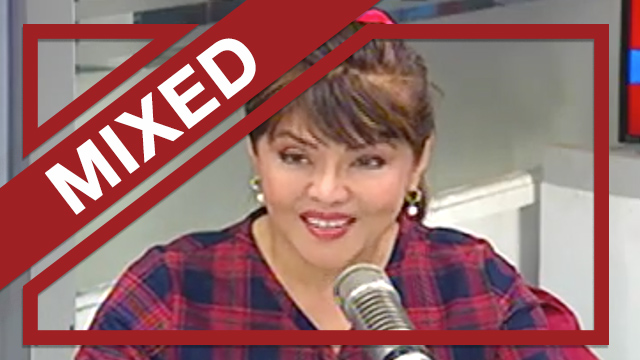 A screenshot of Ilocos Norte Governor Imee Marcos during an interview on dzBB where she claimed she was still a minor during Martial Law