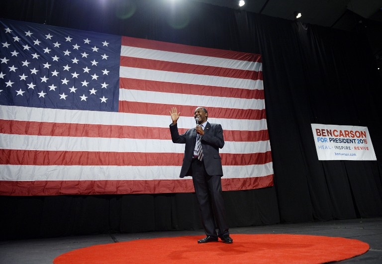 CARSON FOR AMERICA. Republican presidential candidate Ben Carson speaks during a campaign rally at the Anaheim Convention Center September 9, 2015 in Anaheim, California. Photo by. Kevork Djansezian / Getty Images / AFP
