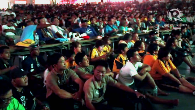 Palaro athletes and officials at the auditorium of the Davao del Norte Sports Complex for the Pacquiao vs Mayweather bout. Photo by Rappler