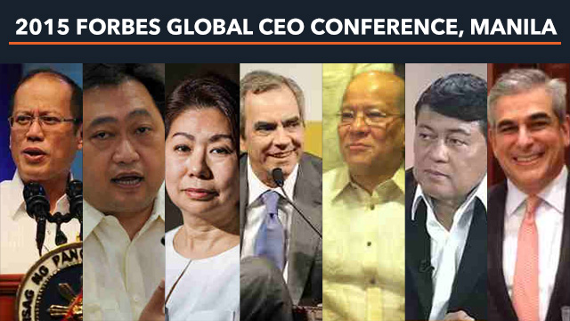 SPEAKERS. (From left) President Benigno Aquino III; Finance Secretary Cesar V. Purisima; and business leaders Teresita Sy-Coson; Enrique K. Razon Jr; Ramon S. Ang; Manuel B. Villar Jr; and Jaime Augusto Zobel de Ayala are among the 50 speakers in the 15th Forbes Global CEO Conference from October 12-14, 2015 at Solaire Resort and Casino Manila.