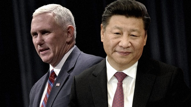CLASH. US Vice President Mike Pence (left) and Chinese President Xi Jinping clash at a pre-APEC business forum. Pence file photo by Mandel Ngan/AFP, Xi file photo by Oliver Bunic/AFP