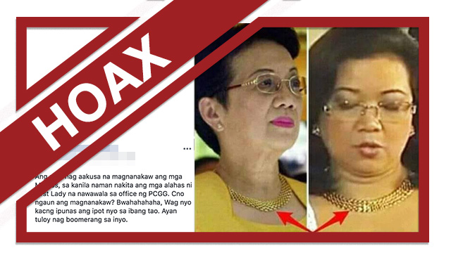 A screenshot of a false Facebook post that claims Cory Aquino and Maria Lourdes Sereno wore Imelda Marcos' necklace.